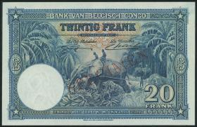 Belgisch-Kongo / Belgian Congo P.15s 20 Francs 10.09.1940 Specimen (1)