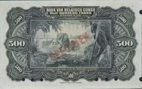 Belgisch-Kongo / Belgian Congo P.18s 500 Francs (1929) Specimen (1)