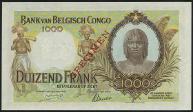 Belgisch-Kongo / Belgian Congo P.19as 1000 Francs 1944 Specimen (1/1-)