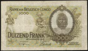 Belgisch-Kongo / Belgian Congo P.19b 1000 Francs 1946 (3-)