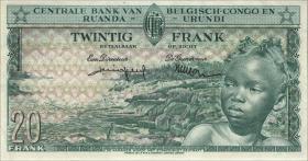 Belgisch-Kongo / Belgian Congo P.31 20 Francs 01.8.1959 (2)