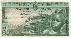 Belgisch-Kongo / Belgian Congo P.31 20 Francs 01.6.1959 (2+)