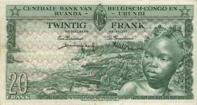 Belgisch-Kongo / Belgian Congo P.31 20 Francs 1.12.1956 (3+)
