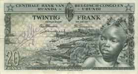 Belgisch-Kongo / Belgian Congo P.31 20 Francs 15.4.1957 (3)