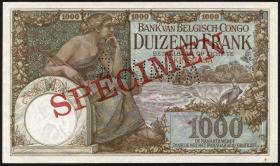 Belgisch-Kongo / Belgian Congo P.12s 1000 Francs 8.10.1912 Kinshasa (2+) Specimen