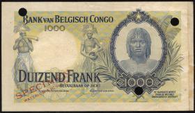 Belgisch-Kongo / Belgian Congo P.19s 1000 Francs (1944) Specimen (2)