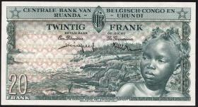 Belgisch-Kongo / Belgian Congo P.31S 20 Francs 1956 Specimen (1)