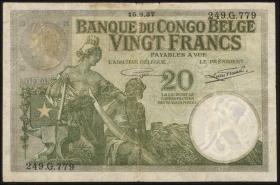 Belgisch-Kongo / Belgian Congo P.10f 20 Francs 15.9.1937 (4)