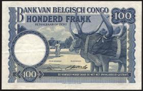Belgisch-Kongo / Belgian Congo P.17d 100 Francs 14.09.1949 (3+)