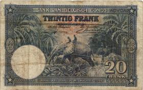 Belgisch-Kongo / Belgian Congo P.15 20 Francs 10.09.1940 (4)