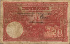 Belgisch-Kongo / Belgian Congo P.15C 20 Francs 10.03.1943 (3-)