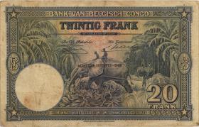 Belgisch-Kongo / Belgian Congo P.15G 20 Francs 18.05.1949 (3-)