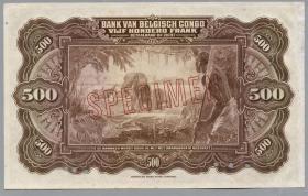 Belgisch-Kongo / Belgian Congo P.18Abs 500 Francs 1943 000000 Specimen (1)