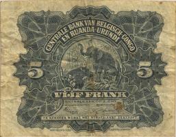 Belgisch-Kongo / Belgian Congo P.21 5 Francs 15.05.1953 (3-)