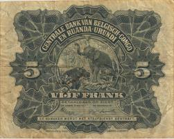 Belgisch-Kongo / Belgian Congo P.21 5 Francs 01.10.1952 (3)