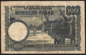 Belgisch-Kongo / Belgian Congo P.25a 100 Francs 01.07.1952 (3)