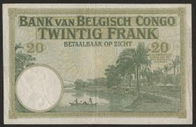 Belgisch-Kongo / Belgian Congo P.10f 20 Francs 1937 (3+)