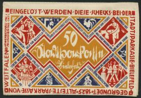 Notgeld Bielefeld GP.20 50 Mark 1922 Seide (1)