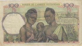 Franz. Westafrika / French West Africa P.40 100 Francs 1948 (3+)