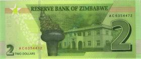 Zimbabwe P.101 2 Dollars 2019 (1)