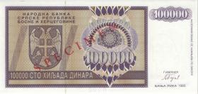 Bosnien & Herzegowina / Bosnia P.141s 100.000 Dinara 1992 Specimen (1)