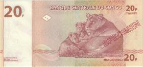 Kongo / Congo P.088s 20 Francs 1997 (1)