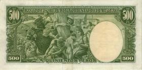 Uruguay P.40c 500 Pesos L. 1939 (3+)