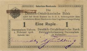 "R.929i: Deutsch-Ostafrika 1 Rupie 1916 P3 (1) korrigierte Nummer ""27103"""