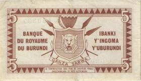 Burundi P.08 5 Francs 1.10.1964 (2)