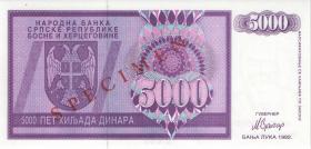 Bosnien & Herzegowina / Bosnia P.138s 5000 Dinara 1992 Specimen (1)