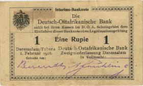 R.929h: 1 Rupie 1916 O3 Datumszeile Typ 3 (2)