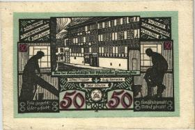 Osterwieck GR.354 50 Mark 1922 Ledergeld Baustein (1-)