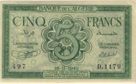 Algerien / Algeria P.091 5 Francs 1942 (1/1-)