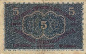 Tschechoslowakei / Czechoslovakia P.007 5 Kronen 1919 (3-)