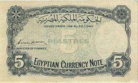 Ägypten / Egypt P.164 5 Piaster (1940) (3+)