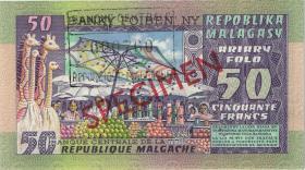 Madagaskar P.62s 50 Francs = 10 Ariary  (1974-75) Specimen (1)