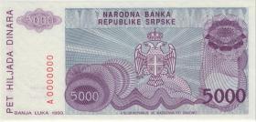 Bosnien & Herzegowina / Bosnia P.152s 5.000 Dinara 1993 Specimen (1)