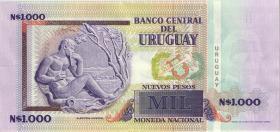 """Uruguay P.67A 1.000 Pesos 1989 (1) """"NO EMITIDO"""""""
