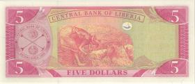 Liberia P.26d 5 Dollars 2008 (1)