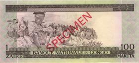 Kongo / Congo P.012s1 1 Zaire = 100 Makuta 21.1.1970 Specimen (1)
