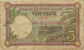 Belgisch-Kongo / Belgian Congo P.08c 5 Francs 20.7.1926 (4) Matadi