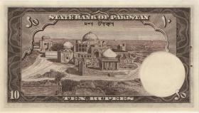 Pakistan P.13 10 Rupien (1951) (übl. Heftlöcher) (1) U.2