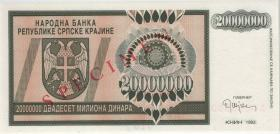 Kroatien Serb. Krajina / Croatia P.R13s 20 Millionen Dinara 1993 (1) Specimen