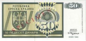 Kroatien Serb. Krajina / Croatia P.R02s 50 Dinara 1992 (1) Specimen