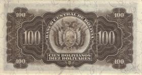 Bolivien / Bolivia P.133 100 Bolivianos L. 1928 (2+)