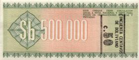 Bolivien / Bolivia P.198 50 Centavos auf 500.000 Pesos Bol. 1987 (1)