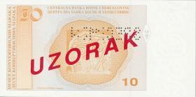 Bosnien & Herzegowina / Bosnia P.063s 10 Konver. Marka (1998) Specimen (1)