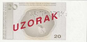 Bosnien & Herzegowina / Bosnia P.066s 20 Konver. Marka (1998) Specimen (1)
