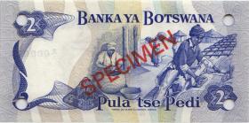 Botswana P.02s 2 Pula (1976) Specimen B/1 000000 (1)