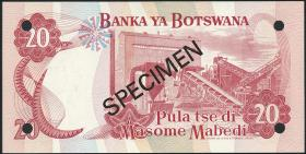Botswana P.05s2 20 Pula (1976) Specimen E/2 000000 (1)